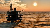 image of  rig  - Oil rig  platform at sunset - JPG
