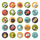 picture of bowling ball  - Circular sports icons flat design vector set - JPG