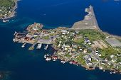 foto of reining  - Aerial view of picturesque harbor in Reine on Lofoten islands in Norway - JPG