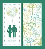 Vector mysterious green garden couple in love silhouettes frame pattern invitation greeting card tem
