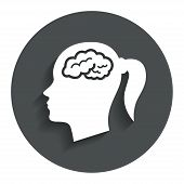 Head with brain sign icon. Female woman head