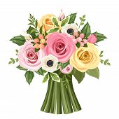 Bouquet of colorful roses and anemone flowers. Vector illustration.