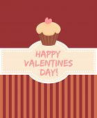 Happy valentines day vector card with sweet cake
