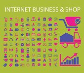 internet business, shop, store, logistics, factory, lorry, communication, connection, web, website icons, signs, illustrations set, vector