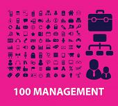 100 management, marketing, presentation, retail, sale, organization, office icons, signs, illustrations set, vector