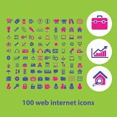 100 web internet, information, office, document, ecommerce, presentation icons, signs, illustrations set, vector