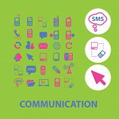communication, connection, mobile, smartphone icons, signs, illustrations set, vector
