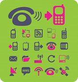 phone, smartphone, communication, mobile, network icons, signs, illustrations set, vector