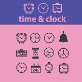 time, clock, hours, minute icons, signs, illustrations set, vector