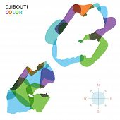 Abstract vector color map of Djibouti with transparent paint effect.