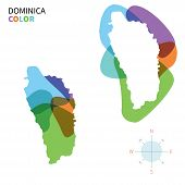 Abstract vector color map of Dominica with transparent paint effect.