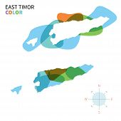 Abstract vector color map of East Timor with transparent paint effect.
