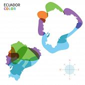 Abstract vector color map of Ecuador with transparent paint effect.