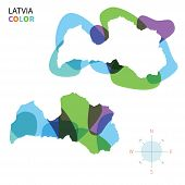 Abstract vector color map of Latvia with transparent paint effect.