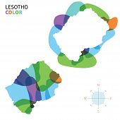 Abstract vector color map of Lesotho with transparent paint effect.