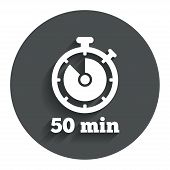 Timer sign icon. 50 minutes stopwatch symbol.