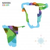 Abstract vector color map of Namibia with transparent paint effect.