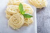 Dry pasta with fresh basil