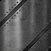 Metallic background with scratched grunge effect and screws