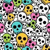 image of emo  - Vector retro  seamless background with  skulls pattern - JPG