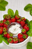 Fresh strawberry with cream cheese dip