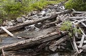 foto of hatcher  - Old timbers laying across creek at Independence Mine - JPG