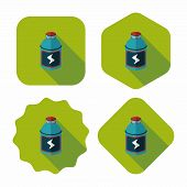 Energy Drinks Flat Icon With Long Shadow,eps10