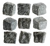Nine granite pavement cubes isolated with path on white background