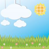 Sunny Field Landscape Decoration Cardboard Card, Create By Vector
