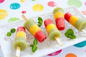 Homemade pureed fresh fruit popsicles