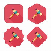 Toy Hammer Flat Icon With Long Shadow,eps10
