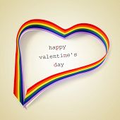 a rainbow ribbon forming a heart and the text happy valentines day written on a beige background, with a retro effect