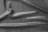 Texture Of Crumpled Black Brilliant Fabric