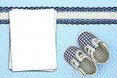 Stack of paper sheets on blue polka background