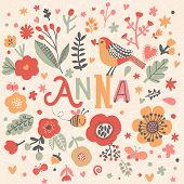 Bright card with beautiful name Anna in poppy flowers, bees and butterflies. Awesome female name design in bright colors. Tremendous vector background for fabulous designs