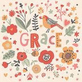 Bright card with beautiful name Grace in poppy flowers, bees and butterflies. Awesome female name design in bright colors. Tremendous vector background for fabulous designs