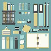 Office tools supplies and stationery icons set - Flat design