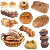 Collage of different pastries and bakery items, isolated on white