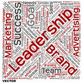 Vector concept or conceptual leadership marketing or business text word cloud isolated on background
