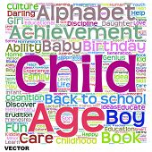 Vector concept or conceptual child education or family abstract word cloud isolated on white background