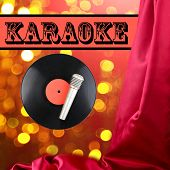 Vinyl record and microphone on bright lights background, Karaoke concept