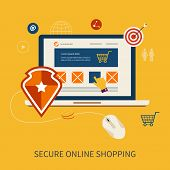 Icons for mobile marketing and secure online shopping