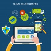 Icons for mobile marketing and security online shopping