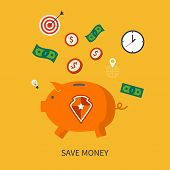 Protection and save is money business concept in modern flat design.