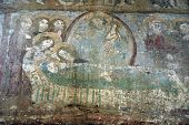 Ancient Fresco, Murals In Malancrav Church. Transylvania, Romania