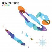 Abstract vector color map of New Caledonia with transparent paint effect.