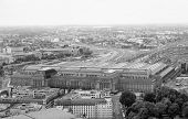 picture of leipzig  - Aerial view of the city of Leipzig in Germany with the Hauptbahnhof central station in black and white - JPG