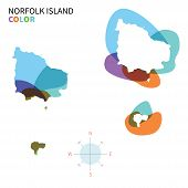 Abstract vector color map of Norfolk Island with transparent paint effect.