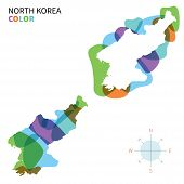 Abstract vector color map of North Korea with transparent paint effect.
