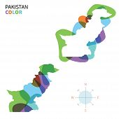 Abstract vector color map of Pakistan with transparent paint effect.